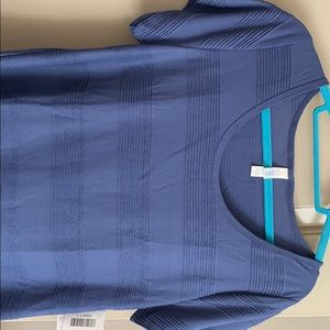Blue ruffle classic t large